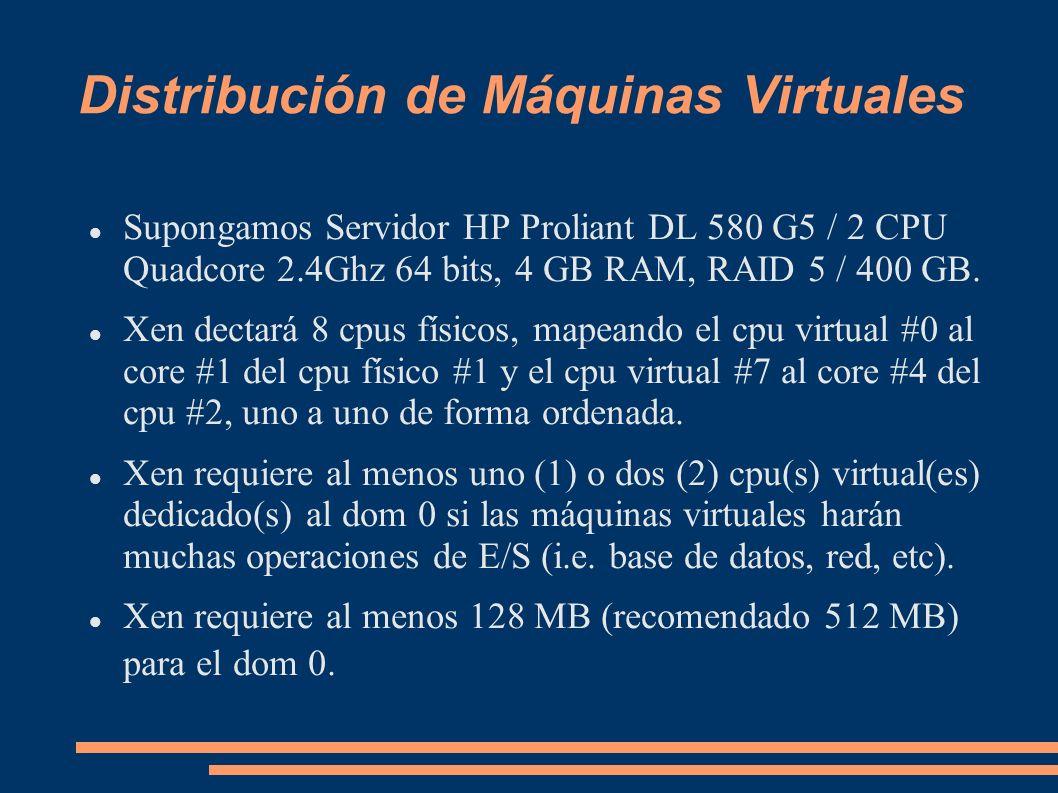 Distribución de Máquinas Virtuales Supongamos Servidor HP Proliant DL 580 G5 / 2 CPU Quadcore 2.4Ghz 64 bits, 4 GB RAM, RAID 5 / 400 GB. Xen dectará 8