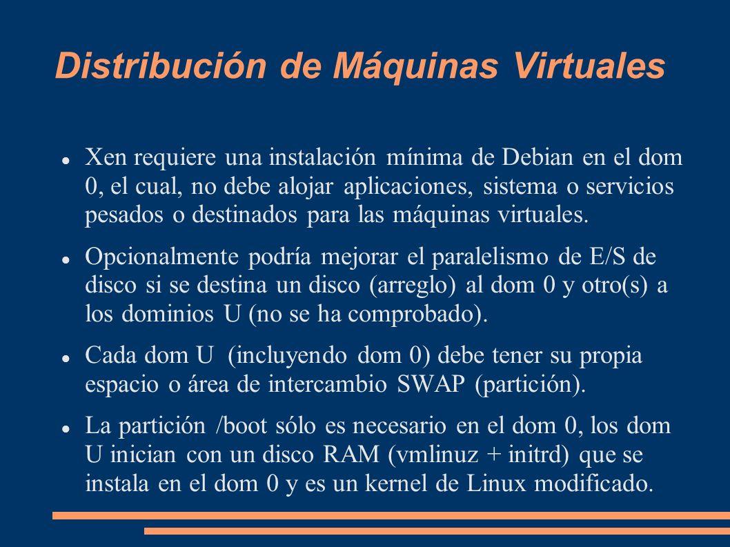 Distribución de Máquinas Virtuales Xen requiere una instalación mínima de Debian en el dom 0, el cual, no debe alojar aplicaciones, sistema o servicio