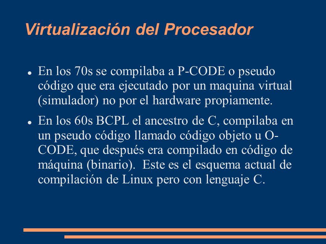 Virtualización del Procesador En los 70s se compilaba a P-CODE o pseudo código que era ejecutado por un maquina virtual (simulador) no por el hardware