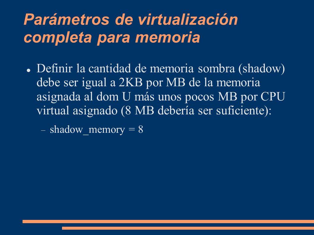 Parámetros de virtualización completa para memoria Definir la cantidad de memoria sombra (shadow) debe ser igual a 2KB por MB de la memoria asignada a