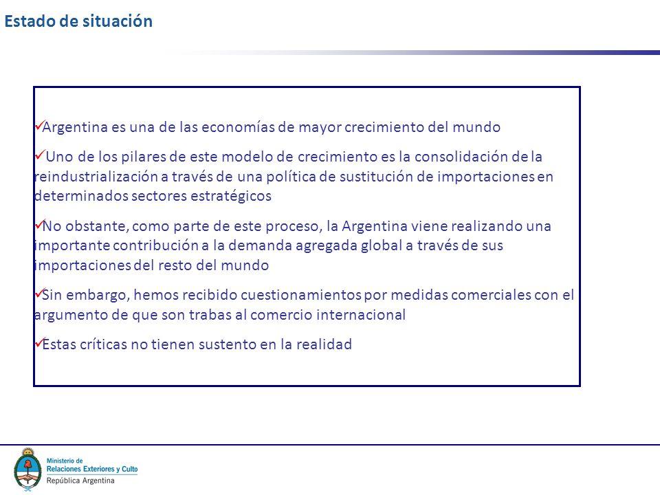 2 Estado de situación Argentina es una de las economías de mayor crecimiento del mundo Uno de los pilares de este modelo de crecimiento es la consolidación de la reindustrialización a través de una política de sustitución de importaciones en determinados sectores estratégicos No obstante, como parte de este proceso, la Argentina viene realizando una importante contribución a la demanda agregada global a través de sus importaciones del resto del mundo Sin embargo, hemos recibido cuestionamientos por medidas comerciales con el argumento de que son trabas al comercio internacional Estas críticas no tienen sustento en la realidad