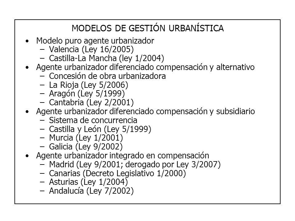 MODELOS DE GESTIÓN URBANÍSTICA Modelo puro agente urbanizador –Valencia (Ley 16/2005) –Castilla-La Mancha (ley 1/2004) Agente urbanizador diferenciado