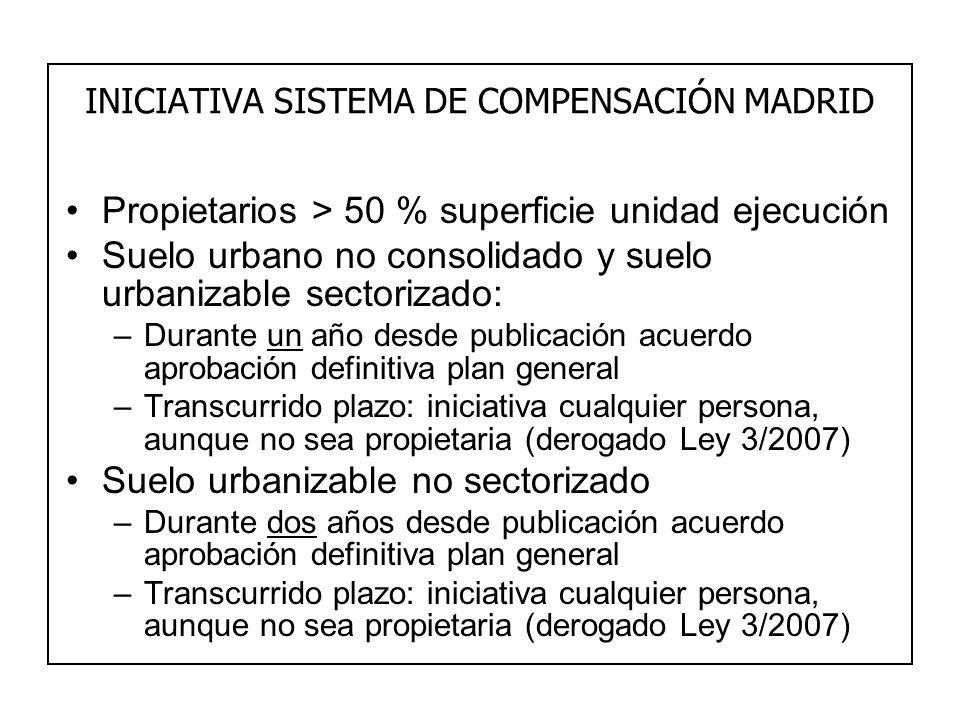 INICIATIVA SISTEMA DE COMPENSACIÓN MADRID Propietarios > 50 % superficie unidad ejecución Suelo urbano no consolidado y suelo urbanizable sectorizado: