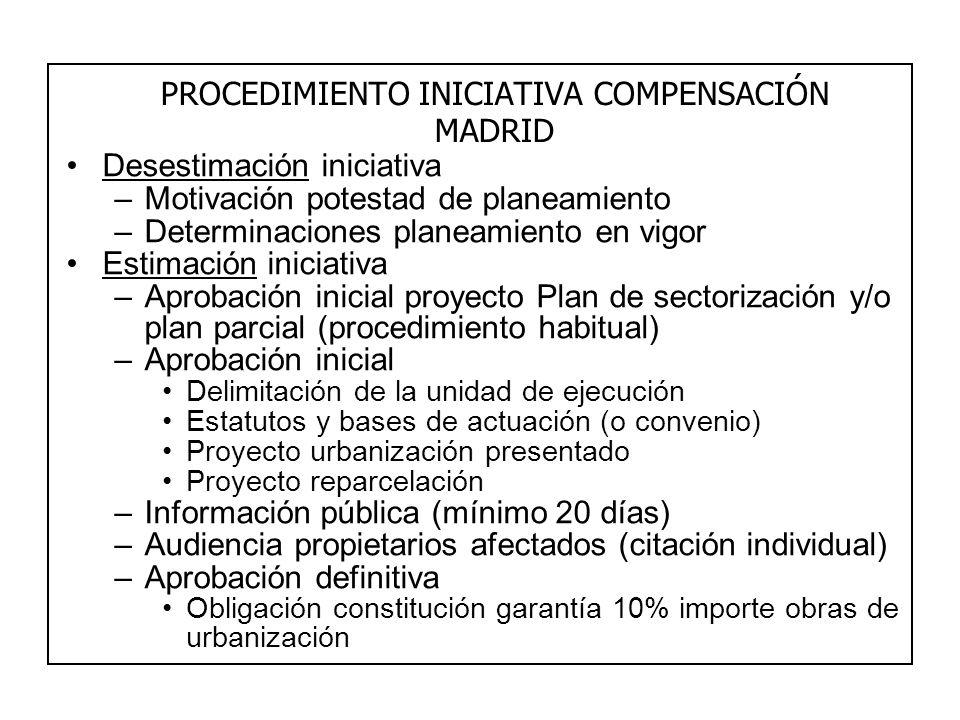 PROCEDIMIENTO INICIATIVA COMPENSACIÓN MADRID Desestimación iniciativa –Motivación potestad de planeamiento –Determinaciones planeamiento en vigor Esti