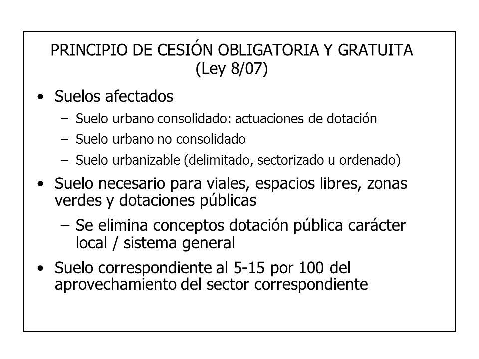 PRINCIPIO DE CESIÓN OBLIGATORIA Y GRATUITA (Ley 8/07) Suelos afectados –Suelo urbano consolidado: actuaciones de dotación –Suelo urbano no consolidado