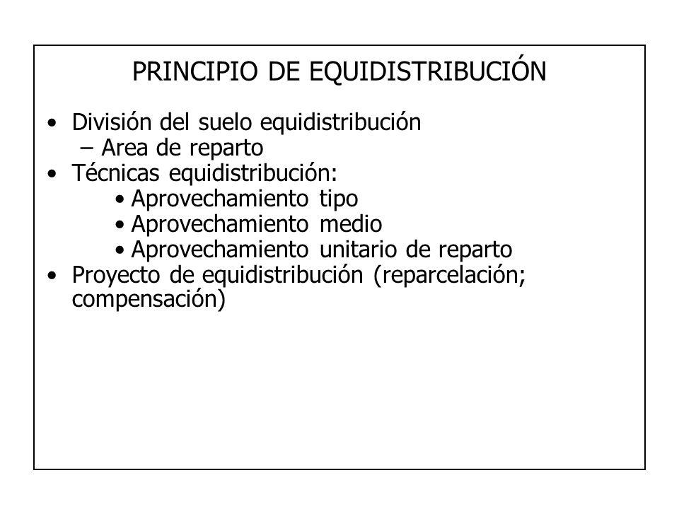 PRINCIPIO DE EQUIDISTRIBUCIÓN División del suelo equidistribución –Area de reparto Técnicas equidistribución: Aprovechamiento tipo Aprovechamiento med