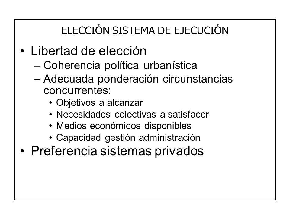ELECCIÓN SISTEMA DE EJECUCIÓN Libertad de elección –Coherencia política urbanística –Adecuada ponderación circunstancias concurrentes: Objetivos a alc