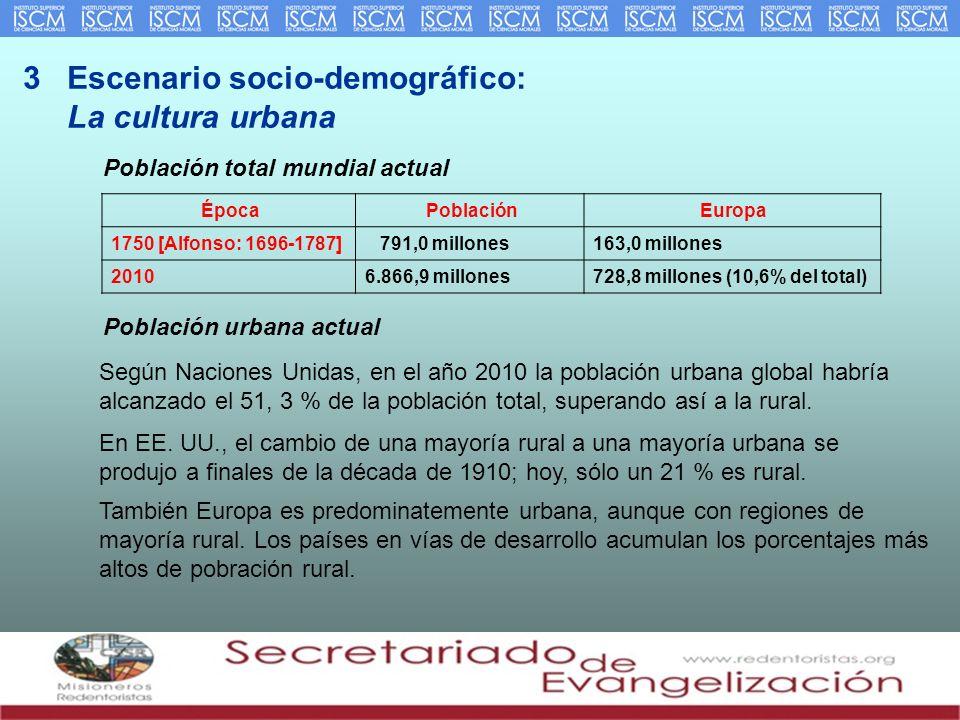3 Escenario socio-demográfico: La cultura urbana Población total mundial actual ÉpocaPoblaciónEuropa 1750 [Alfonso: 1696-1787] 791,0 millones163,0 mil