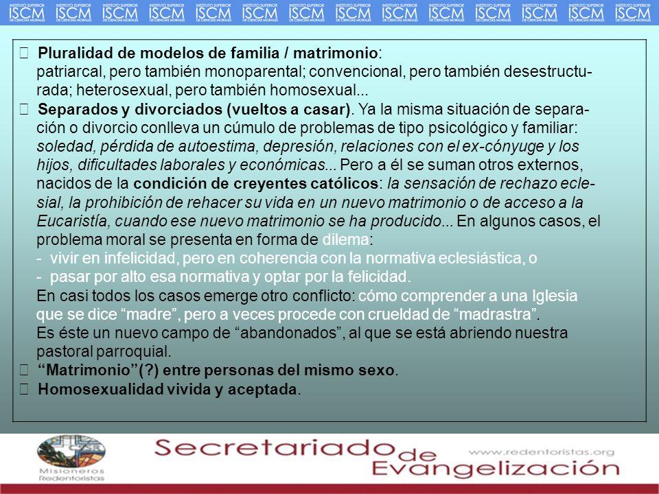 Pluralidad de modelos de familia / matrimonio: patriarcal, pero también monoparental; convencional, pero también desestructu- rada; heterosexual, pero