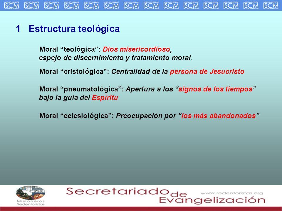 1 Estructura teológica Moral teológica: Dios misericordioso, espejo de discernimiento y tratamiento moral. Moral cristológica: Centralidad de la perso
