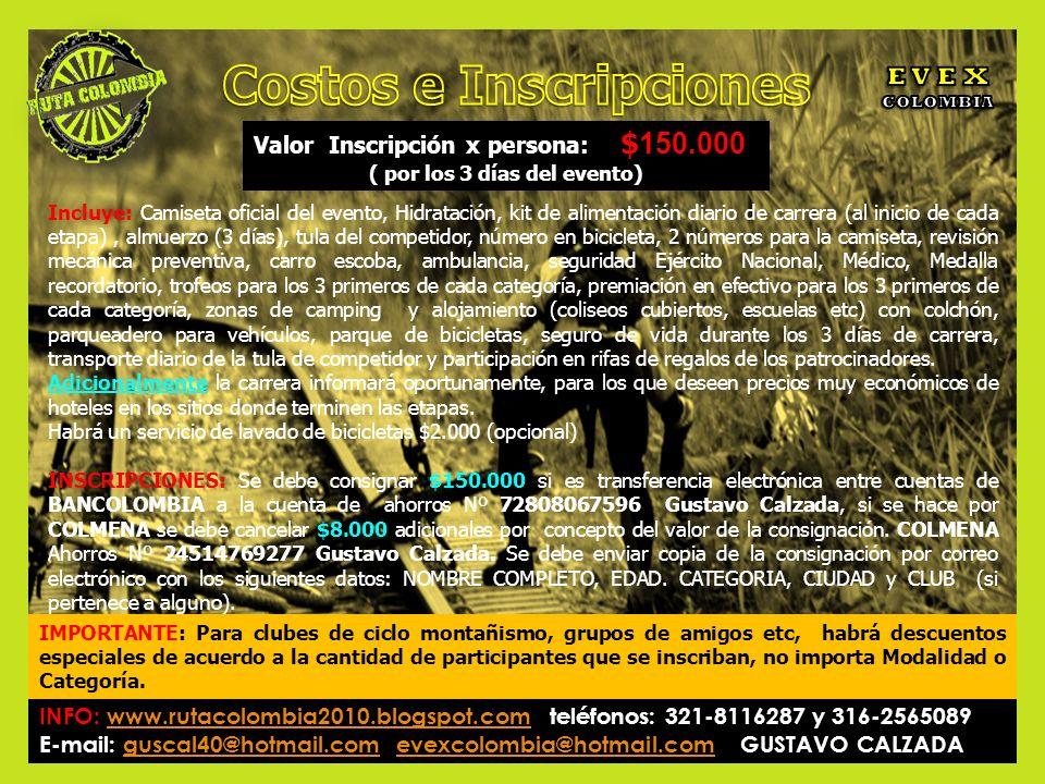 Valor Inscripción x persona: $ 150.000 ( por los 3 días del evento) Incluye: Camiseta oficial del evento, Hidratación, kit de alimentación diario de c