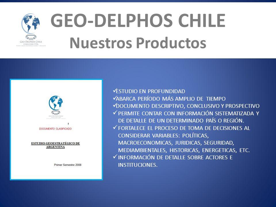 GEO-DELPHOS CHILE Nuestros Productos ESTUDIO EN PROFUNDIDAD ABARCA PERÍODO MÁS AMPLIO DE TIEMPO DOCUMENTO DESCRIPTIVO, CONCLUSIVO Y PROSPECTIVO PERMIT