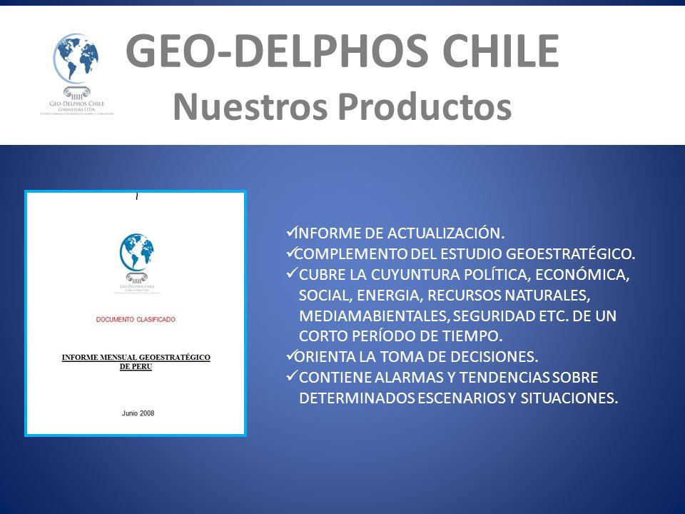 GEO-DELPHOS CHILE Nuestros Productos INFORME DE ACTUALIZACIÓN. COMPLEMENTO DEL ESTUDIO GEOESTRATÉGICO. CUBRE LA CUYUNTURA POLÍTICA, ECONÓMICA, SOCIAL,