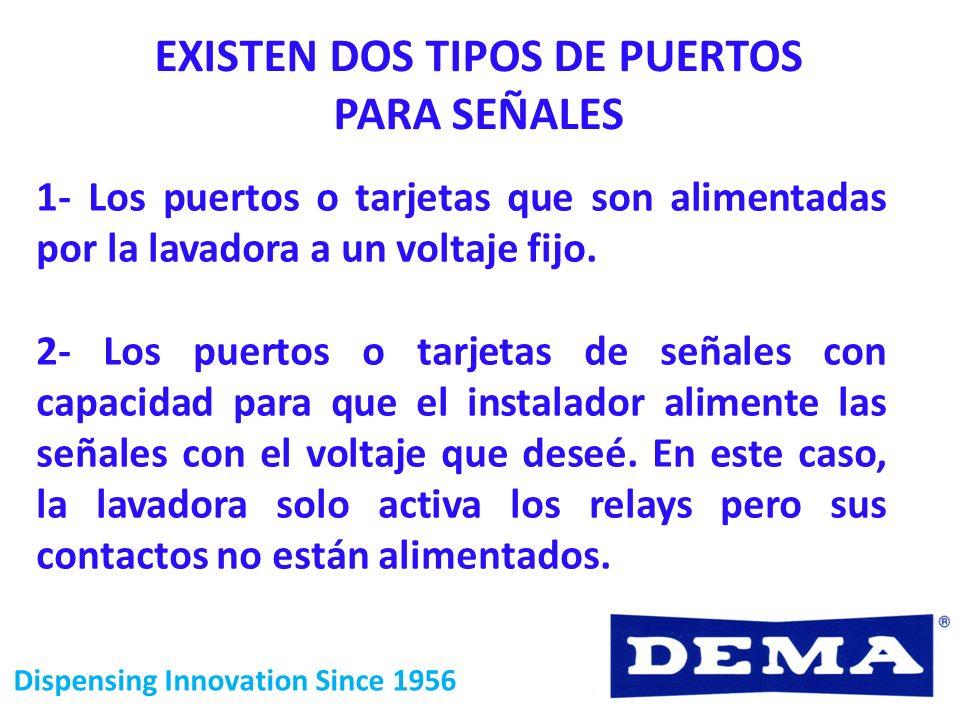 Dispensing Innovation Since 1956 EXISTEN DOS TIPOS DE PUERTOS PARA SEÑALES 1- Los puertos o tarjetas que son alimentadas por la lavadora a un voltaje