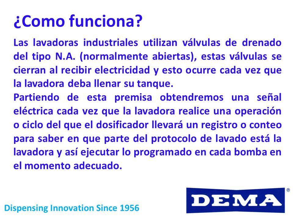 Dispensing Innovation Since 1956 Las lavadoras industriales utilizan válvulas de drenado del tipo N.A. (normalmente abiertas), estas válvulas se cierr