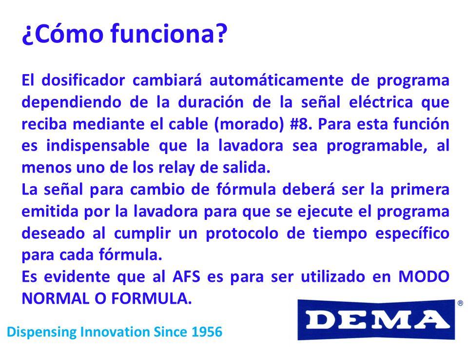 Dispensing Innovation Since 1956 ¿Cómo funciona? El dosificador cambiará automáticamente de programa dependiendo de la duración de la señal eléctrica