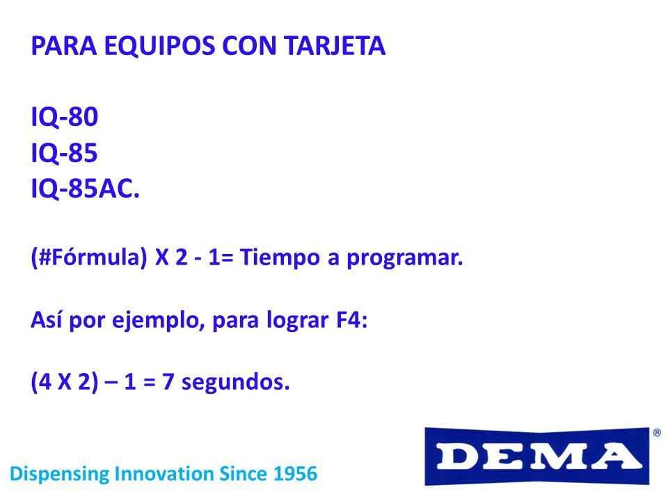 Dispensing Innovation Since 1956 PARA EQUIPOS CON TARJETA IQ-80 IQ-85 IQ-85AC. (#Fórmula) X 2 - 1= Tiempo a programar. Así por ejemplo, para lograr F4
