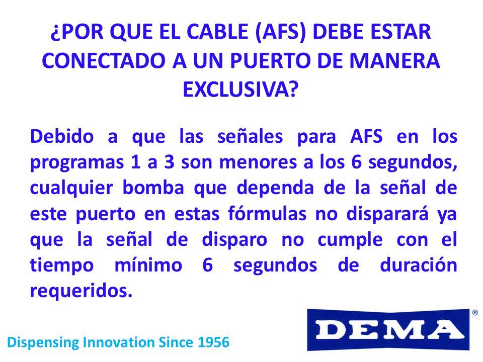 ¿POR QUE EL CABLE (AFS) DEBE ESTAR CONECTADO A UN PUERTO DE MANERA EXCLUSIVA? Debido a que las señales para AFS en los programas 1 a 3 son menores a l