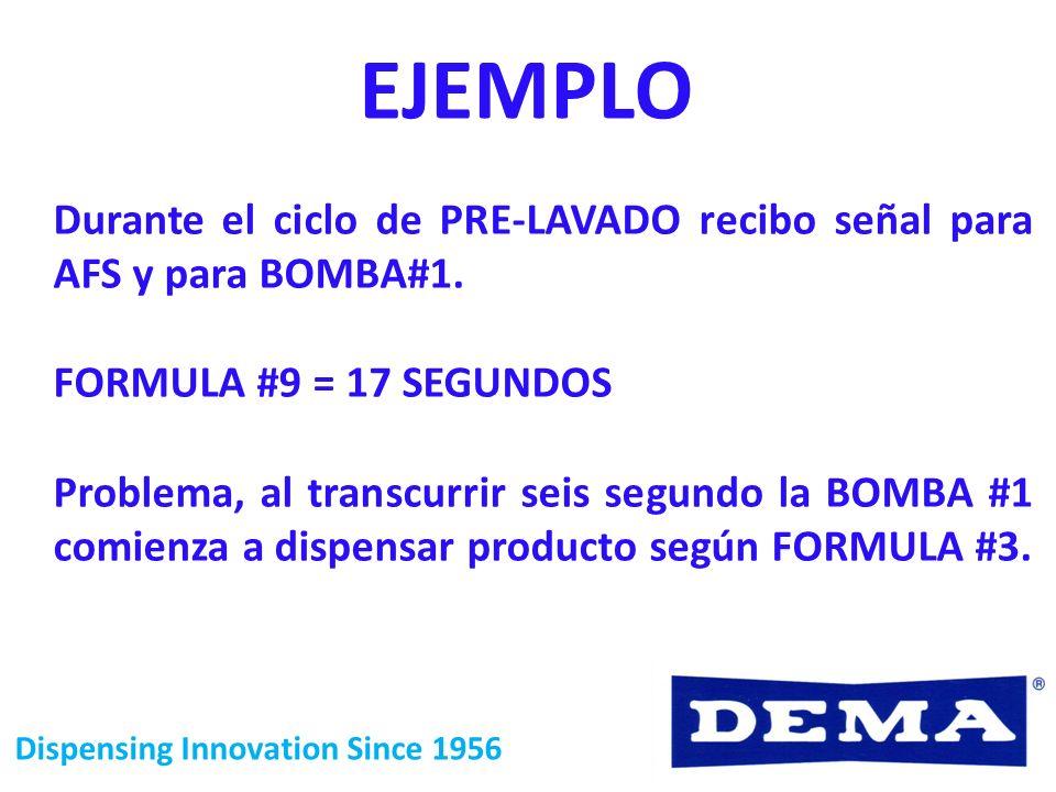 Dispensing Innovation Since 1956 EJEMPLO Durante el ciclo de PRE-LAVADO recibo señal para AFS y para BOMBA#1. FORMULA #9 = 17 SEGUNDOS Problema, al tr