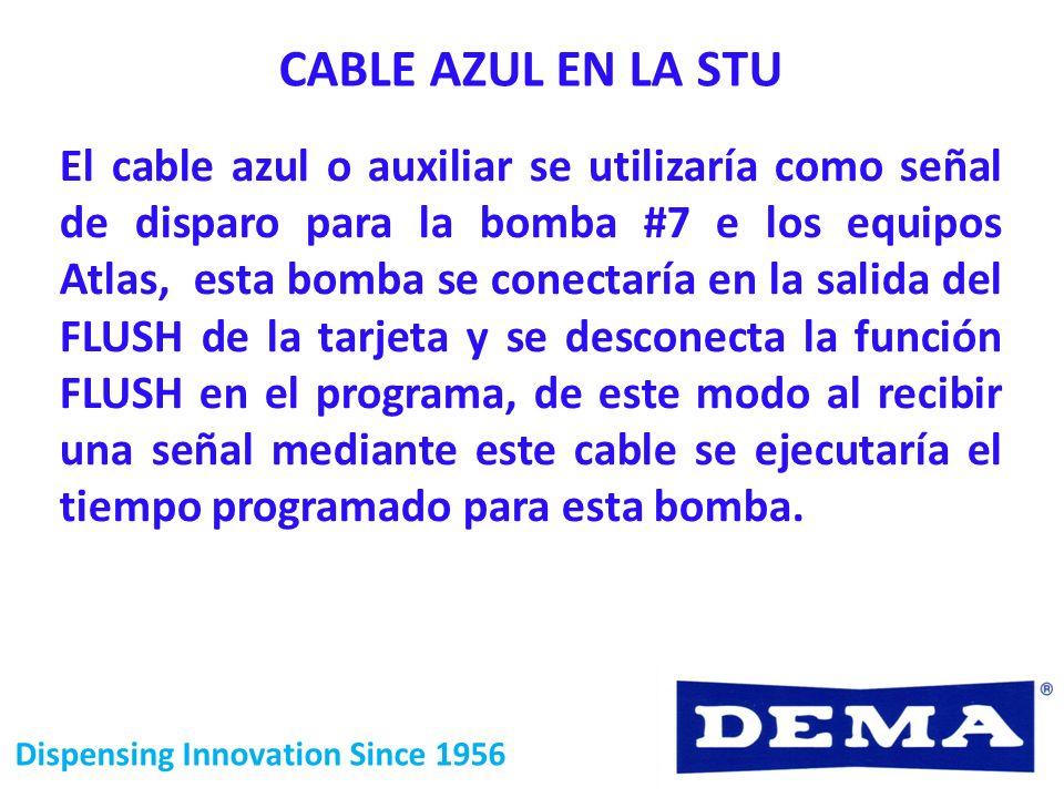 Dispensing Innovation Since 1956 CABLE AZUL EN LA STU El cable azul o auxiliar se utilizaría como señal de disparo para la bomba #7 e los equipos Atla
