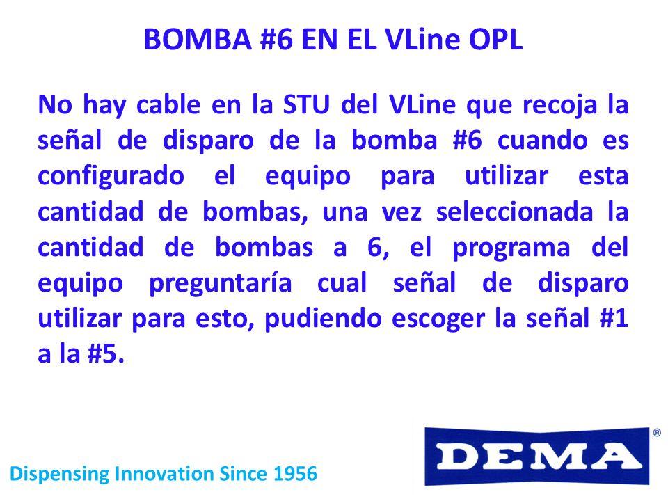 Dispensing Innovation Since 1956 BOMBA #6 EN EL VLine OPL No hay cable en la STU del VLine que recoja la señal de disparo de la bomba #6 cuando es con
