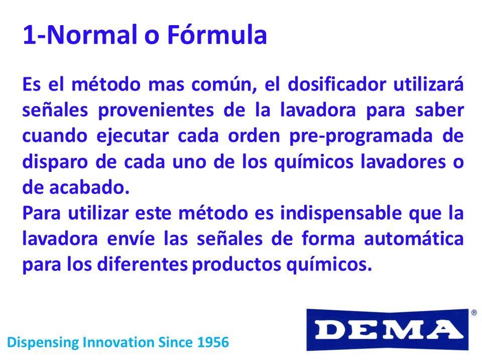 Dispensing Innovation Since 1956 1-Normal o Fórmula Es el método mas común, el dosificador utilizará señales provenientes de la lavadora para saber cu