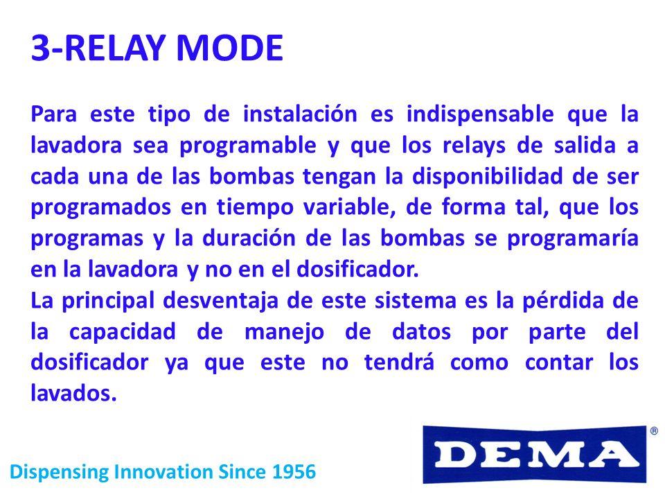 Dispensing Innovation Since 1956 3-RELAY MODE Para este tipo de instalación es indispensable que la lavadora sea programable y que los relays de salid