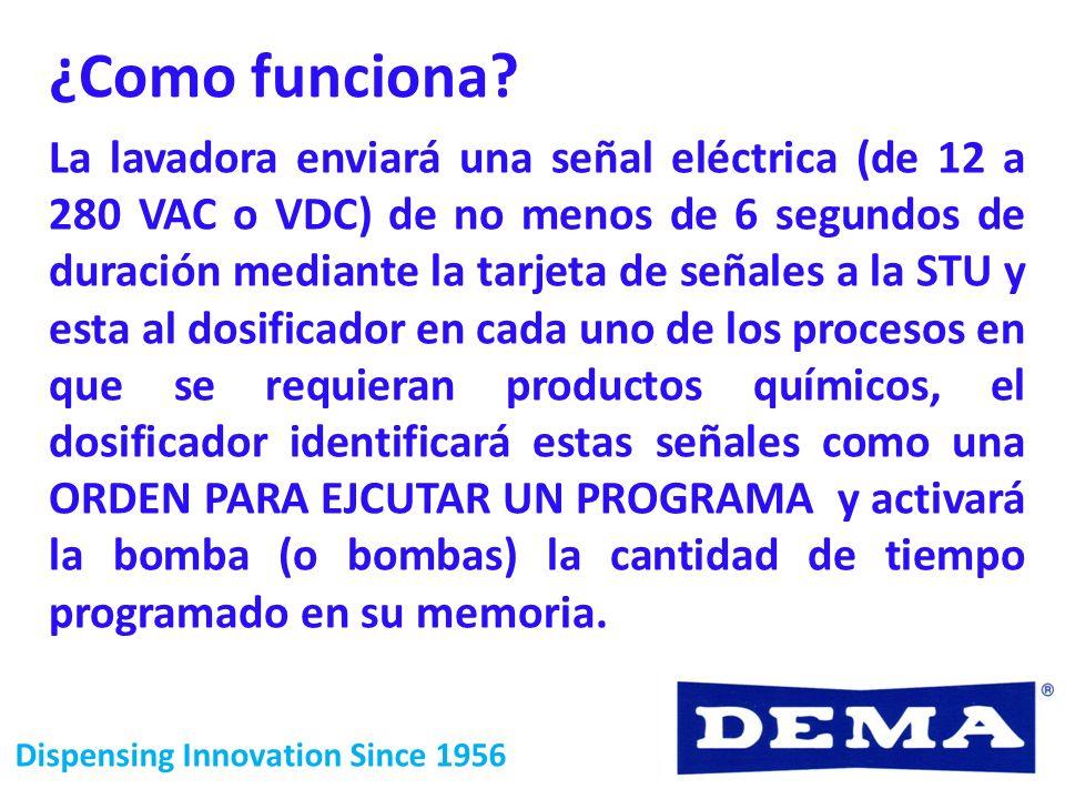 Dispensing Innovation Since 1956 La lavadora enviará una señal eléctrica (de 12 a 280 VAC o VDC) de no menos de 6 segundos de duración mediante la tar