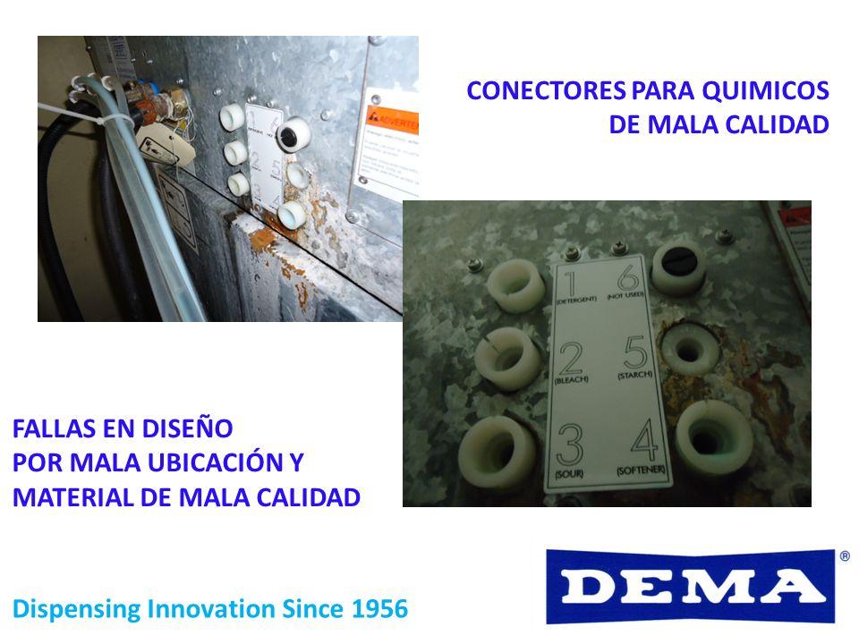 CONECTORES PARA QUIMICOS DE MALA CALIDAD FALLAS EN DISEÑO POR MALA UBICACIÓN Y MATERIAL DE MALA CALIDAD