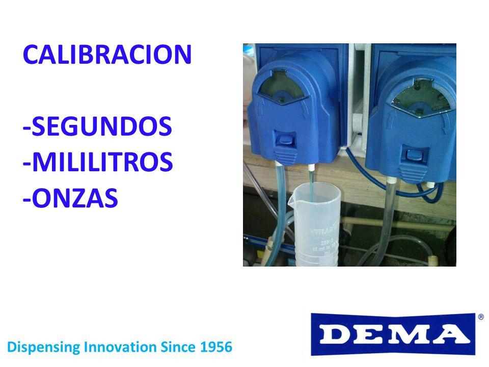 CALIBRACION -SEGUNDOS -MILILITROS -ONZAS Dispensing Innovation Since 1956