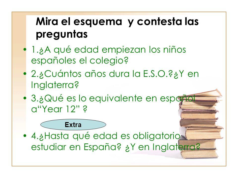 Mira el esquema y contesta las preguntas 1.¿A qué edad empiezan los niños españoles el colegio.