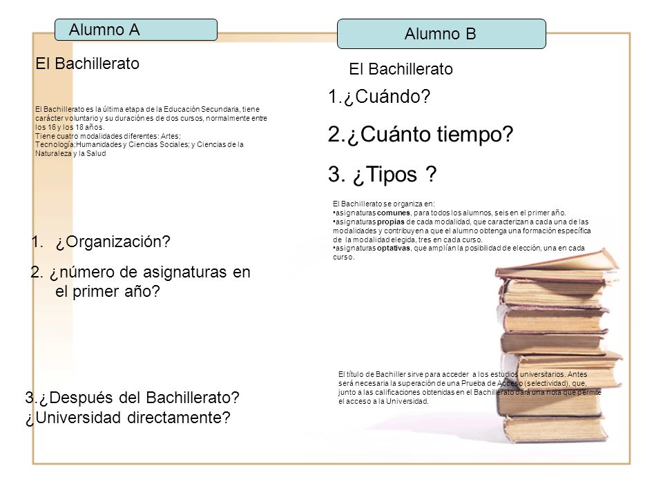 El Bachillerato El Bachillerato es la última etapa de la Educación Secundaria, tiene carácter voluntario y su duración es de dos cursos, normalmente entre los 16 y los 18 años.