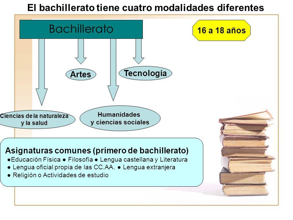 Bachillerato 16 a 18 años Ciencias de la naturaleza y la salud Artes Humanidades y ciencias sociales Tecnología Asignaturas comunes (primero de bachillerato) Educación Física Filosofía Lengua castellana y Literatura Lengua oficial propia de las CC.AA.