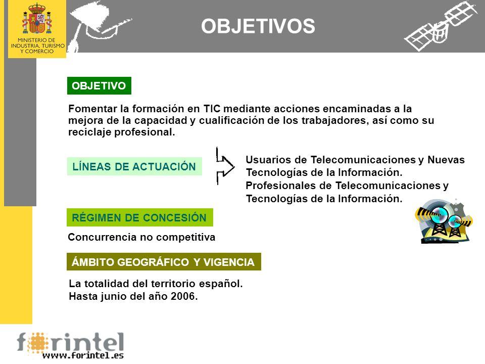 OBJETIVOS La totalidad del territorio español. Hasta junio del año 2006. Usuarios de Telecomunicaciones y Nuevas Tecnologías de la Información. Profes