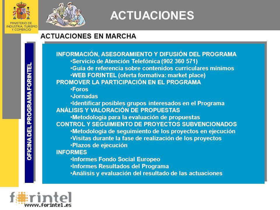 ACTUACIONES ACTUACIONES EN MARCHA INFORMACIÓN, ASESORAMIENTO Y DIFUSIÓN DEL PROGRAMA Servicio de Atención Telefónica (902 360 571) Guía de referencia