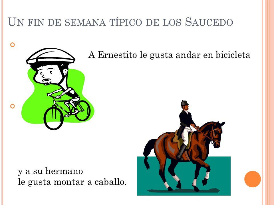 U N FIN DE SEMANA TÍPICO DE LOS S AUCEDO A Ernestito le gusta andar en bicicleta y a su hermano le gusta montar a caballo.