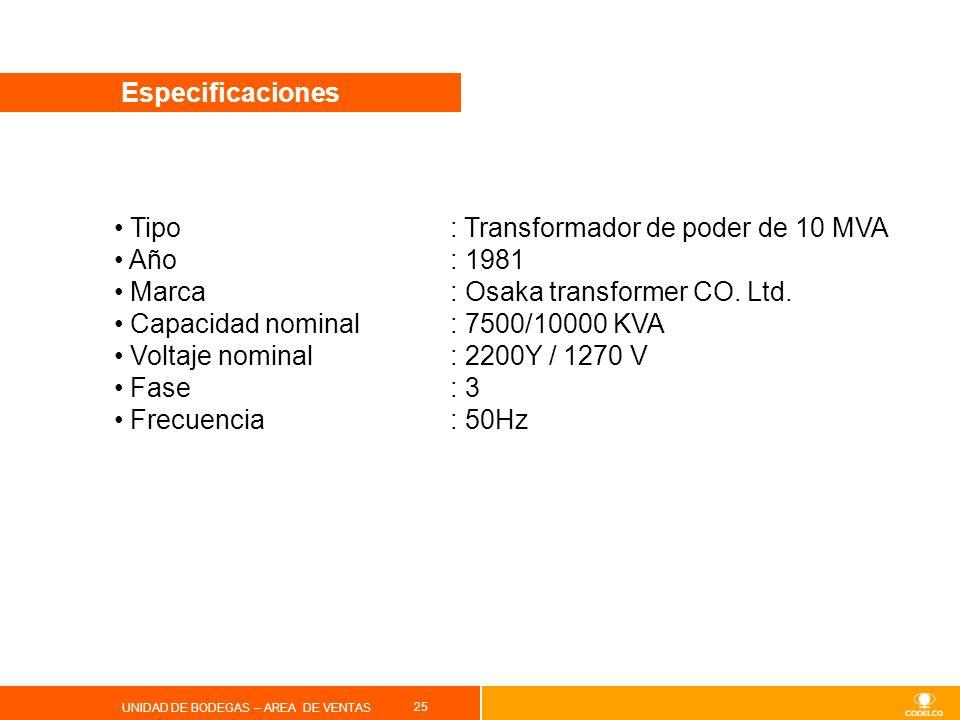 25 UNIDAD DE BODEGAS – AREA DE VENTAS Especificaciones Tipo : Transformador de poder de 10 MVA Año: 1981 Marca: Osaka transformer CO. Ltd. Capacidad n