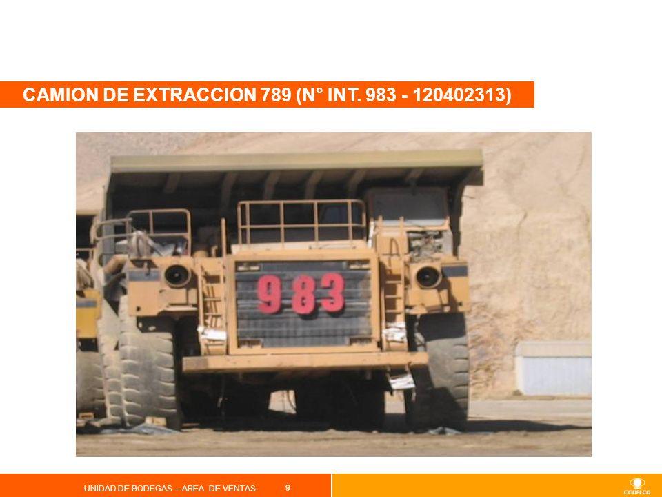 10 UNIDAD DE BODEGAS – AREA DE VENTAS Especificaciones Tipo : Camión de extracción Marca: Caterpillar Modelo: 789 Año: 1990 Capacidad: 190 Toneladas Nº Documento: 120402313 Observaciones: A la vista en el estado que se encuentra.