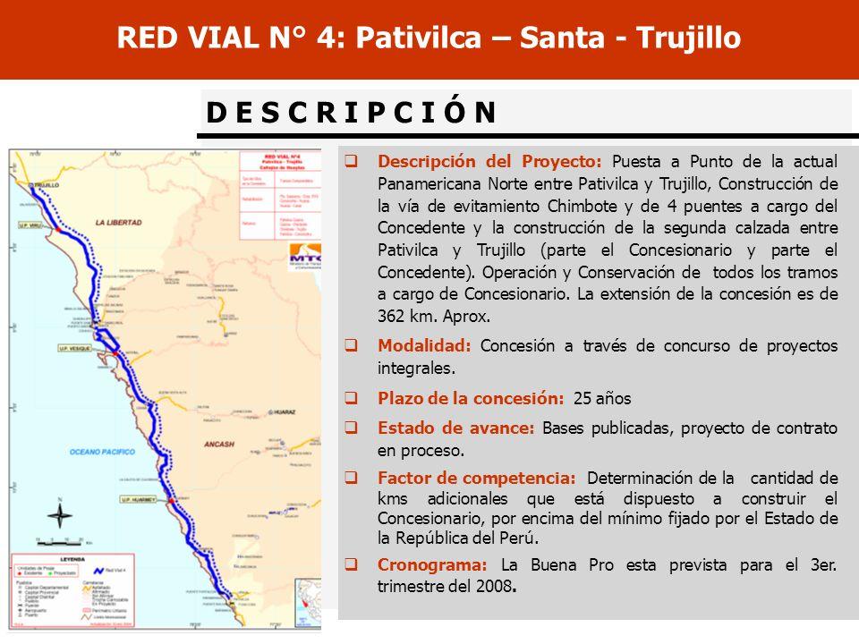 D E S C R I P C I Ó N RED VIAL N° 4: Pativilca – Santa - Trujillo Descripción del Proyecto: Puesta a Punto de la actual Panamericana Norte entre Pativ