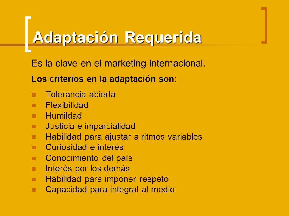 Adaptación Requerida Es la clave en el marketing internacional. Los criterios en la adaptación son: Tolerancia abierta Flexibilidad Humildad Justicia