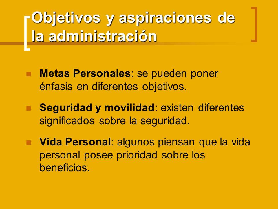 Objetivos y aspiraciones de la administración Metas Personales: se pueden poner énfasis en diferentes objetivos. Seguridad y movilidad: existen difere