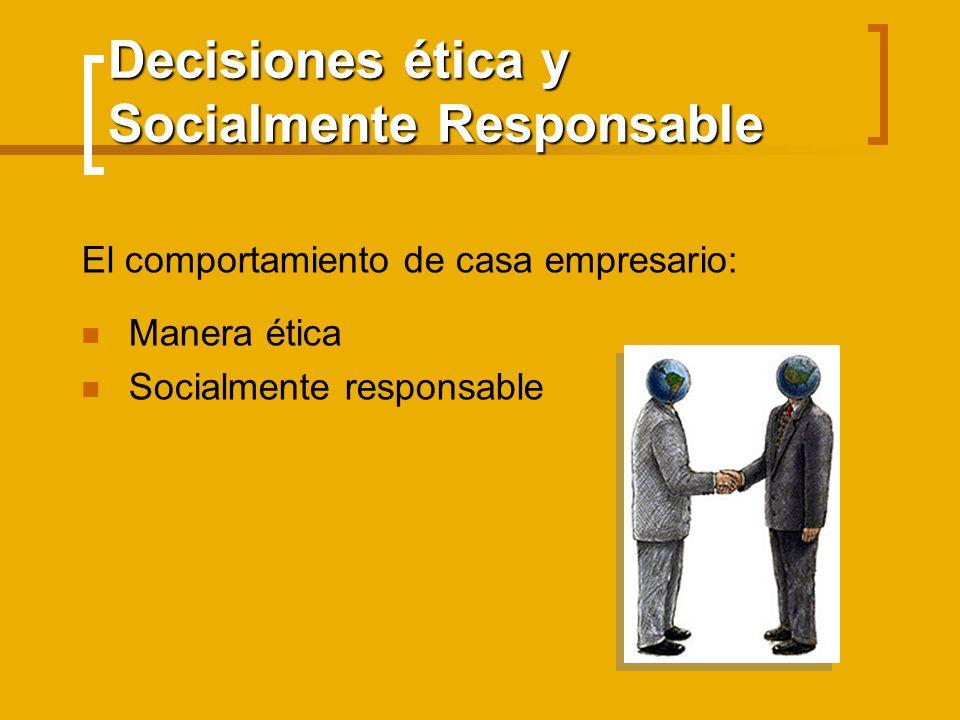 Decisiones ética y Socialmente Responsable El comportamiento de casa empresario: Manera ética Socialmente responsable
