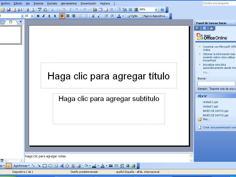 Inicio del programa Desde el menú Inicio se abre el programa Microsoft PowerPoint de la carpeta de Microsoft Office Desde el menú Inicio se abre el pr