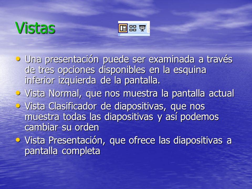 Vistas Una presentación puede ser examinada a través de tres opciones disponibles en la esquina inferior izquierda de la pantalla.