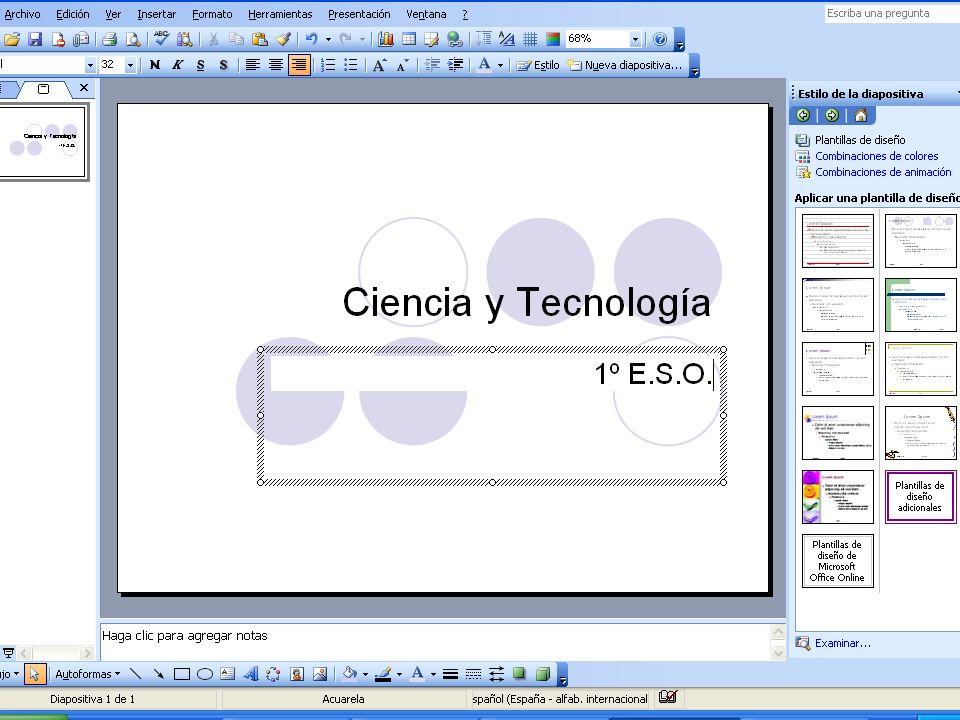 Trabajar con textos Una vez escogido el diseño de las diapositivas y guardado el documento se puede empezar a escribir. Una vez escogido el diseño de