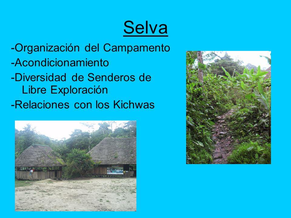 Selva -Organización del Campamento -Acondicionamiento -Diversidad de Senderos de Libre Exploración -Relaciones con los Kichwas