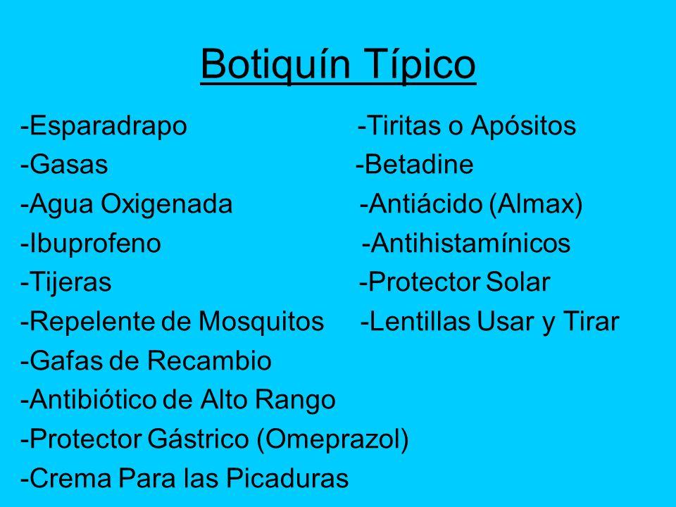 Botiquín Típico -Esparadrapo -Tiritas o Apósitos -Gasas -Betadine -Agua Oxigenada -Antiácido (Almax) -Ibuprofeno -Antihistamínicos -Tijeras -Protector