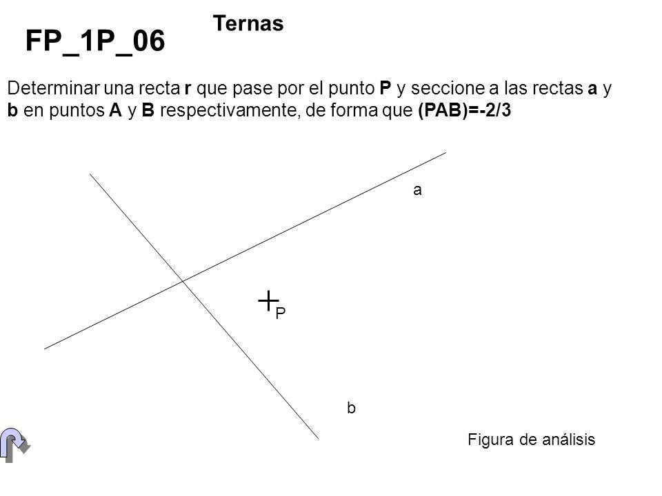 Determinar una recta r que pase por el punto P y seccione a las rectas a y b en puntos A y B respectivamente, de forma que (PAB)=-2/3 FP_1P_06 Ternas