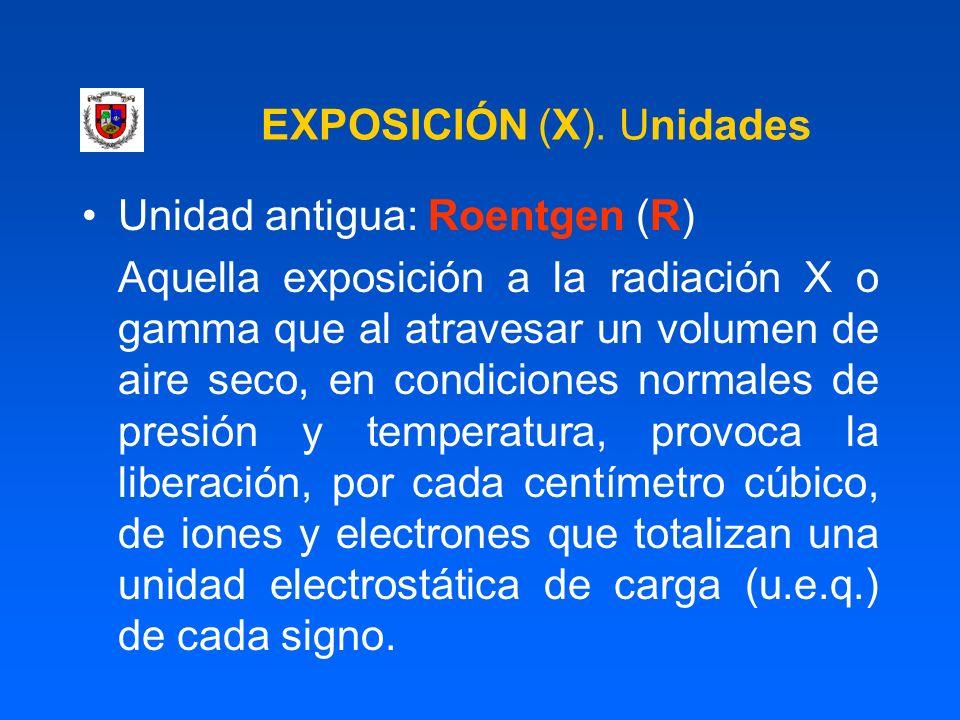 EXPOSICIÓN (X). Unidades Unidad antigua: Roentgen (R) Aquella exposición a la radiación X o gamma que al atravesar un volumen de aire seco, en condici
