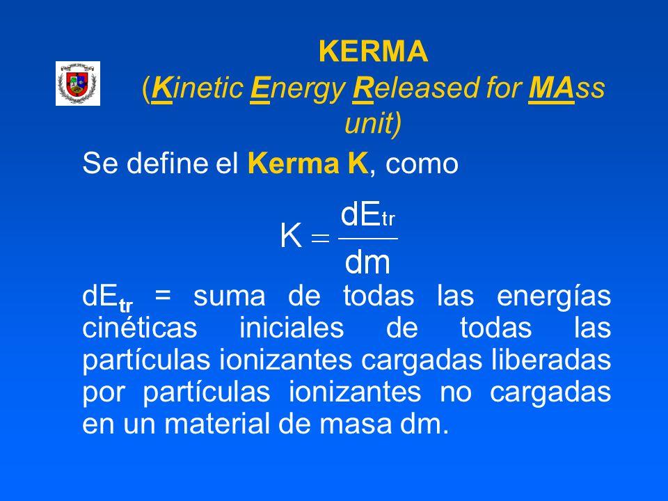 KERMA (Kinetic Energy Released for MAss unit) Se define el Kerma K, como dE tr = suma de todas las energías cinéticas iniciales de todas las partícula